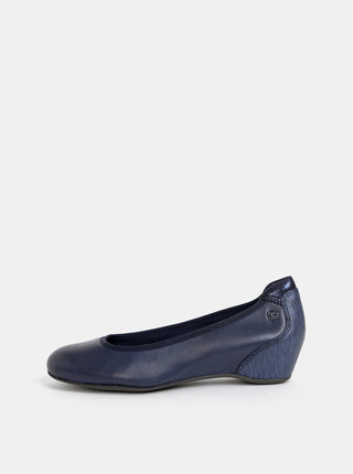 Tmavě modré kožené baleríny na klínku Tamaris