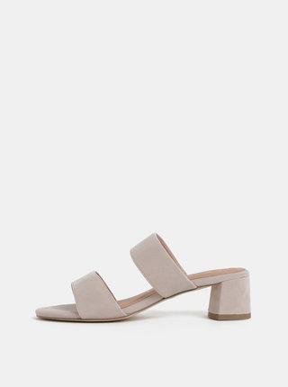 Béžové semišové pantofle na podpatku Tamaris