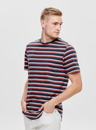 Tricou rosu-albastru in dungi ONLY & SONS Pacifica