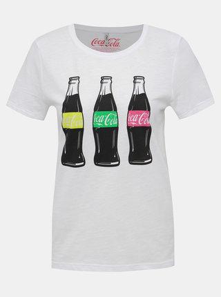 Bílé tričko s potiskem ONLY Coca Cola Coke