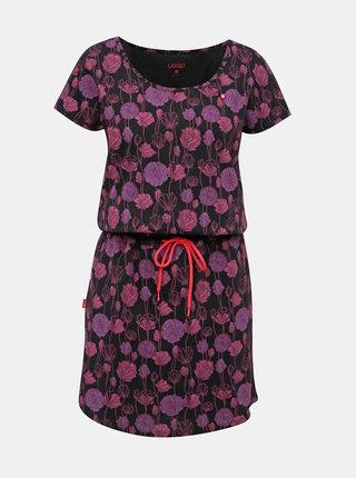 Fialovo-černé květované šaty LOAP Barkley