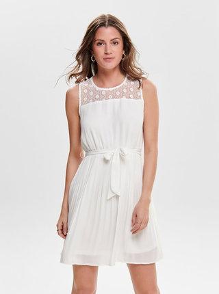 Biele šaty s plisovanou sukňou ONLY Carolina