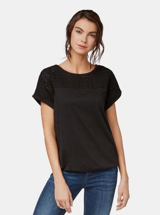 Černé tričko s madeirou Tom Tailor