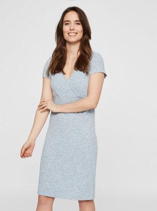 Svetlomodré melírované šaty na dojčenie Mama.licious