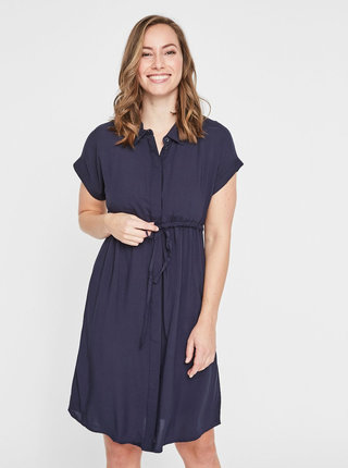 Tmavomodré tehotenské košeľové šaty Mama.licious Lagoon