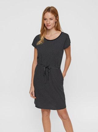 Černé pruhované basic šaty s kapsami VERO MODA April
