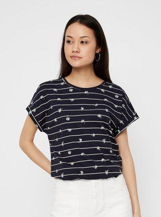 Tmavě modré vzorované tričko VERO MODA Sally Willow