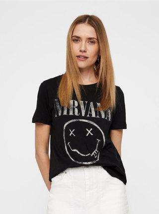Černé tričko s potiskem VERO MODA Nirvana