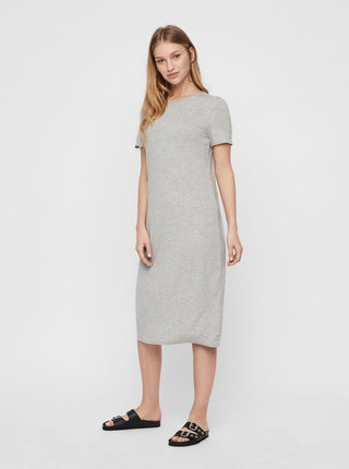 Šedé žíhané basic midišaty AWARE by VERO MODA Gava