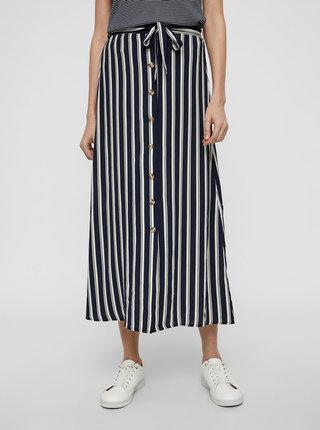 Tmavomodrá pruhovaná midi sukňa VERO MODA Sasha