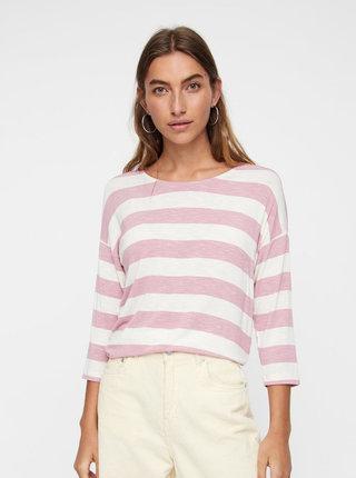 Krémovo–ružové pruhované tričko VERO MODA Wide