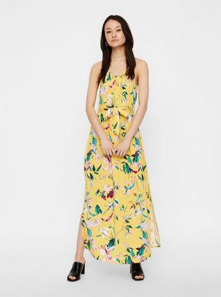 Žluté květované maxišaty na ramínka VERO MODA Simply Easy