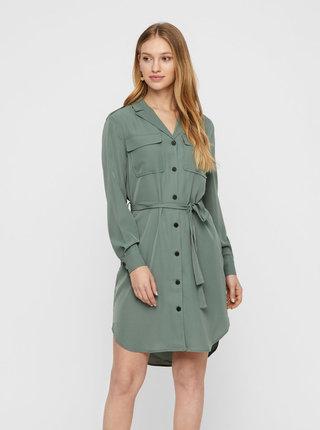 Zelené košeľové šaty VERO MODA Selina