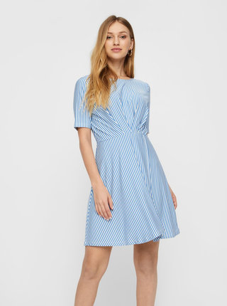 Bielo-modré pruhované šaty s prekládanou sukňou VERO MODA Ava