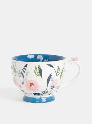 Modro-bíly květovaný hrnek Disaster Secret garden