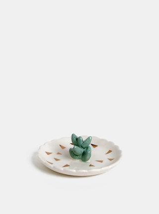 Biela miska na šperky s motívom kaktusu Disaster Urban Succulent