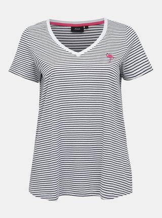 Biele pruhované tričko s výšivkou Zizzi Ichiro