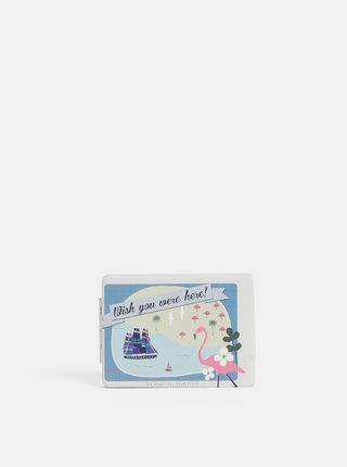 Krémovo-modré vzorované kompaktné zrkadielko Disaster Memento Beach