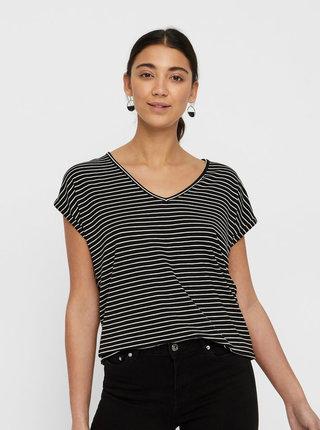 Černé pruhované basic tričko VERO MODA AWARE Ava