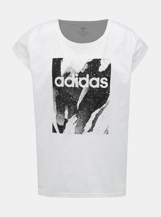 Bílé dámské tričko s potiskem adidas CORE