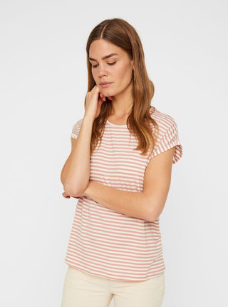 Tricou basic roz prafuit in dungi AWARE by VERO MODA Ava
