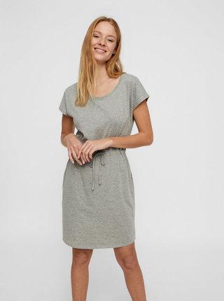 Sivé melírované basic šaty s vreckami VERO MODA April