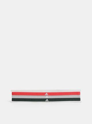 Sada tří čelenek v červené, šedé a zelené barvě adidas Performance