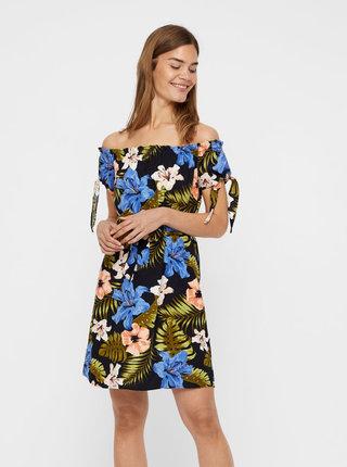 Černé lněné květované šaty s odhalenými rameny VERO MODA Efie
