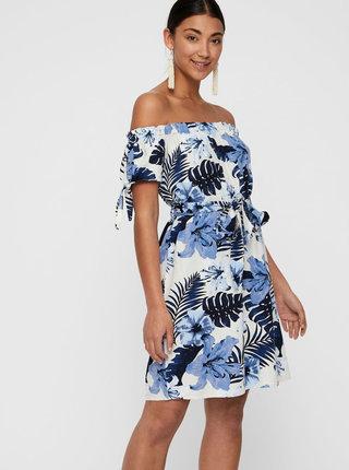 Modro-bílé lněné květované šaty s odhalenými rameny VERO MODA Efie