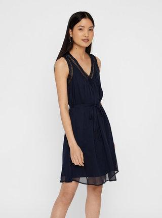 Tmavě modré šaty s krajkovým lemem VERO MODA Enjoy