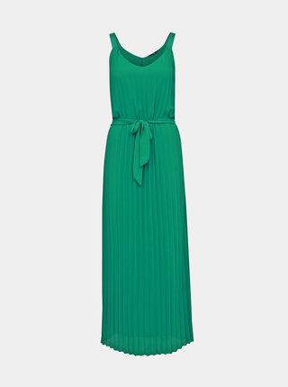Zelené plisované maxišaty na ramienka ONLY Analina