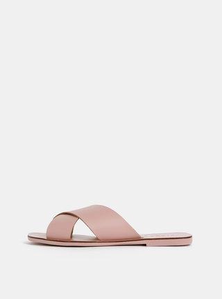 Starorůžové kožené pantofle Pieces Chara