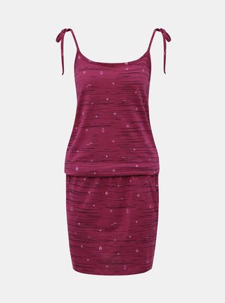 Tmavoružové vzorované šaty na ramienka LOAP Bama