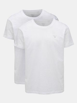 Kolekcia dvoch bielych basic tričiek s okrúhlym výstrihom GANT