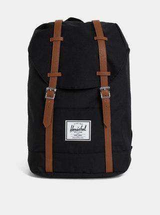 Černý batoh s hnědými popruhy Herschel Supply Retreat 19,5 l