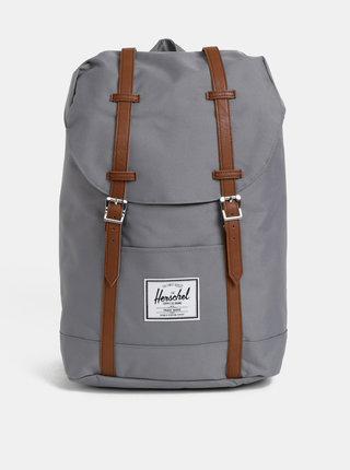 Šedý batoh s hnědými popruhy Herschel Supply Retreat 19,5l
