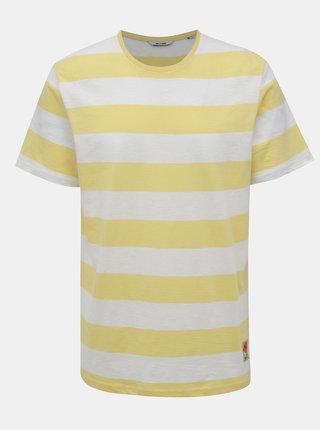 Bielo-žlté pruhované tričko ONLY & SONS Patterson