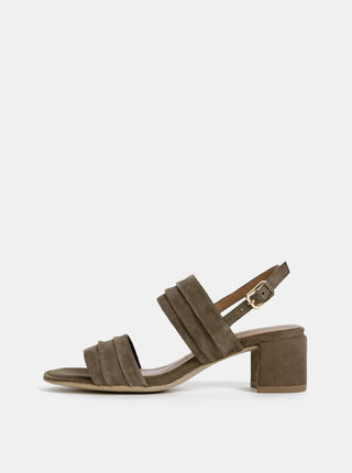 Khaki semišové sandálky na podpatku Tamaris