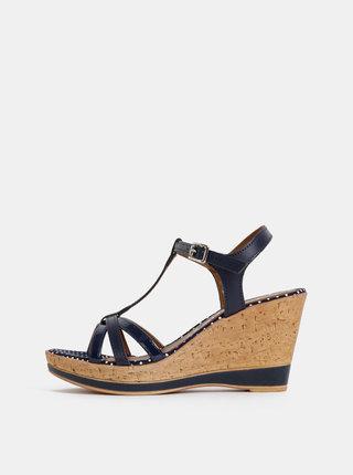 Tmavomodré kožené sandálky na plnom podpätku Tamaris