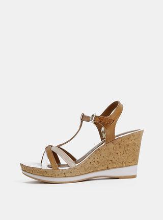 Bielo-hnedé kožené sandálky na plnom podpätku Tamaris