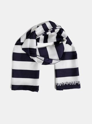 Bílo-modrý dámský pruhovaný hedvábný šátek Fraas
