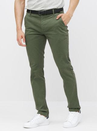 Pantaloni verzi chino cu curea Lindbergh