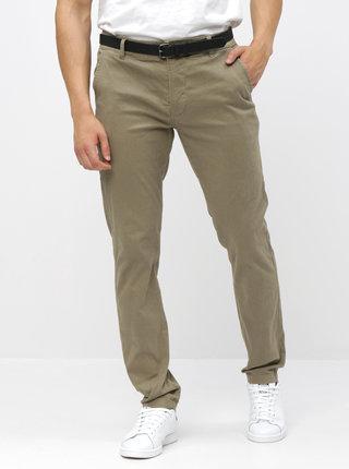 Pantaloni bej chino cu curea Lindbergh