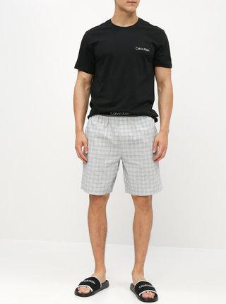 Pijama barbateasca din 2 piese gri-negru Calvin Klein Underwear
