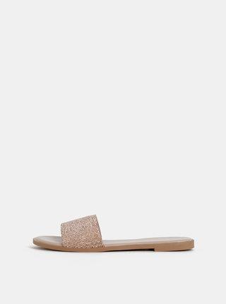 Pantofle ve zlaté barvě s třpytivými kamínky Dorothy Perkins