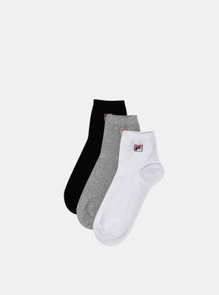 Sada troch párov kotníkových ponožiek v bielej, čiernej a šedej farbe FILA