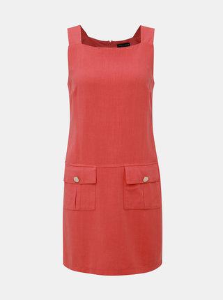 Oranžové šaty s příměsí lnu Dorothy Perkins