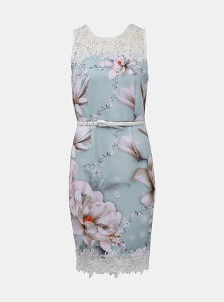 Mentolové květované šaty s páskem Dorothy Perkins