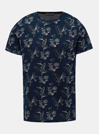 Tmavomodré kvetované tričko Jack & Jones Palmer