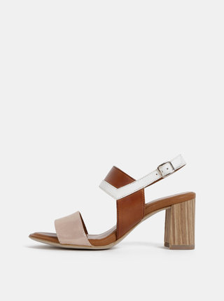 Hnedé kožené sandálky na podpätku Tamaris